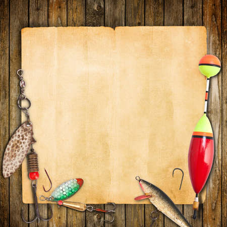 trout fishing: Frame with spinner lures and fishing floats. Stock Photo