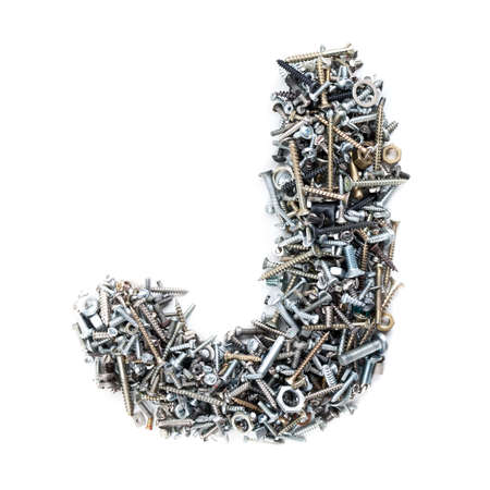 Letter J made of screws isolated in white background photo
