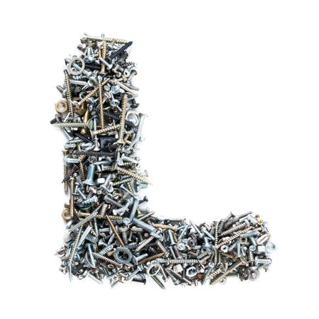Letter 'L' made of screws isolated in white background photo