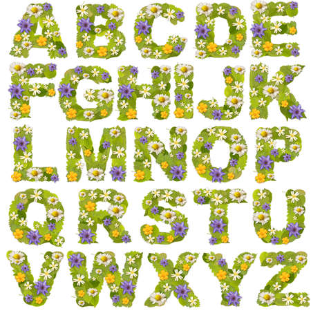 letters alphabet: Green leaf whit flower fonts in white. Letter collection