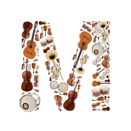 musical instrument parts: Musical instruments alphabet on white background. Letter M Stock Photo