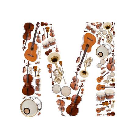 Musical instruments alphabet on white background. Letter M