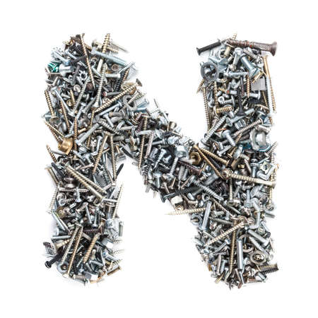 bolts heads: Letter N made of screws isolated in white background Stock Photo