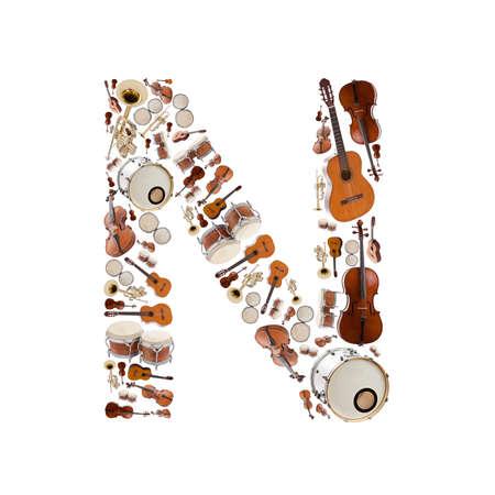 楽器: 白い背景の楽器アルファベット。手紙 N