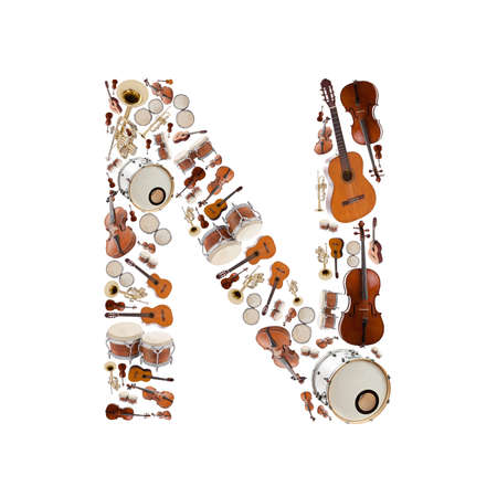 Musical instruments alphabet on white background. Letter N photo