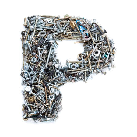 metal fastener: Letter P made of screws isolated in white background