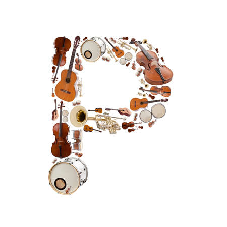 Musical instruments alphabet on white background. Letter P photo