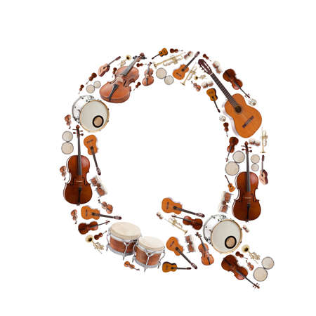 letter q: Musical instruments alphabet on white background. Letter Q
