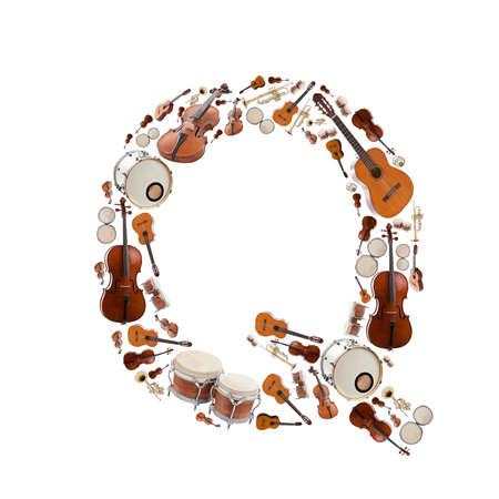 Musical instruments alphabet on white background. Letter Q photo