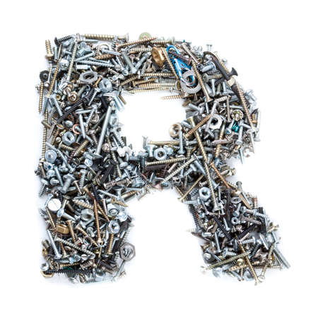nuts and bolts: Letter R made of screws isolated in white background