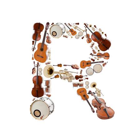 musical instrumen: Instrumentos alfabeto musical sobre fondo blanco. Letra R Foto de archivo