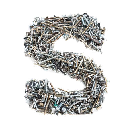 metal fastener: Letter S made of screws isolated in white background