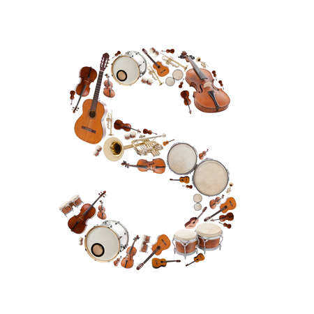 Musical instruments alphabet on white background. Letter S photo