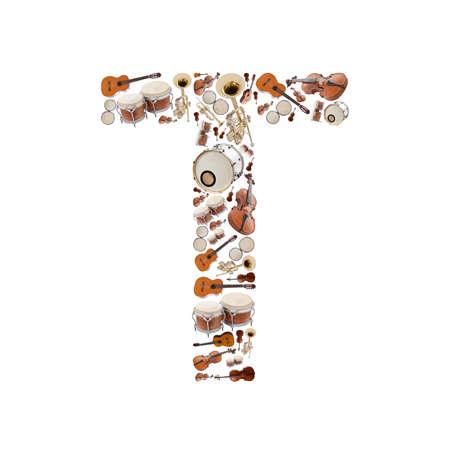 instrumentos musicales: Instrumentos alfabeto musical sobre fondo blanco. Letra T
