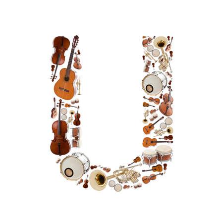 instruments de musique: Musical alphabet instruments sur fond blanc. Lettre U