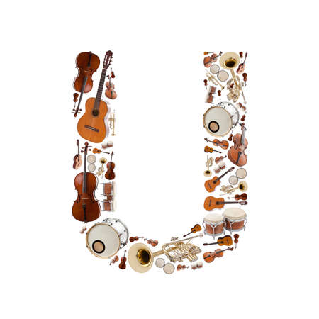 musical instrument parts: Musical instruments alphabet on white background. Letter U Stock Photo