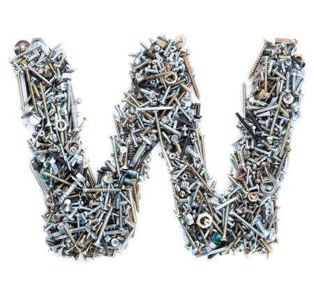 pinhead: Letter W made of screws isolated in white background Stock Photo