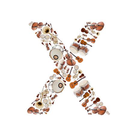 楽器: 白い背景の楽器アルファベット。手紙 X 写真素材
