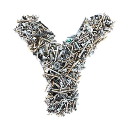 Letter Y made of screws isolated in white background photo