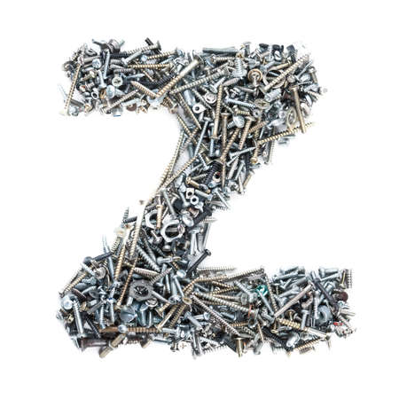 metal fastener: Letter Z made of screws isolated in white background
