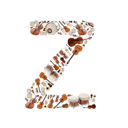 musical instrument parts: Musical instruments alphabet on white background. Letter Z
