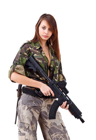camouflage woman: Young woman soldiers with guns, isolated on white background Stock Photo