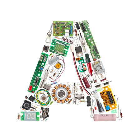 electronic components: Letter A made of electronic components isolated in white background