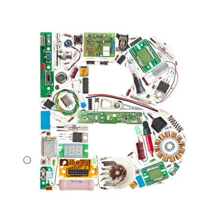 capacitor: Letter B made of electronic components isolated in white background