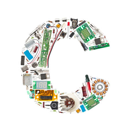Letter C made of electronic components isolated in white background photo