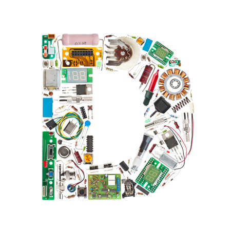 triode: Letter D made of electronic components isolated in white background Stock Photo