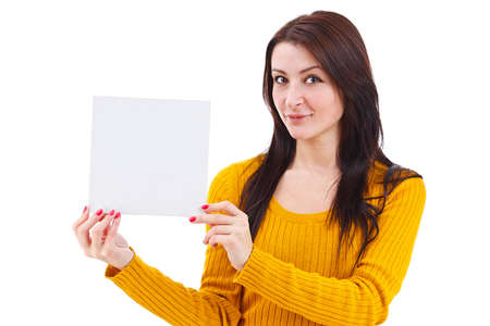 notecard: Portrait of an attractive young adult woman holding blank card - over white background
