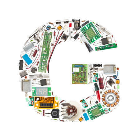 Letter G made of electronic components isolated in white background photo