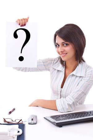 Portrait of confident business woman with question mark sign on white background Stock Photo - 12762635