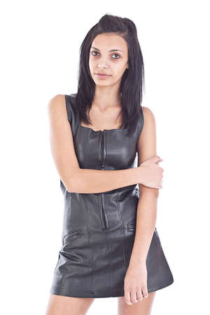 Images of an amazing girl in black leather on a white background  photo