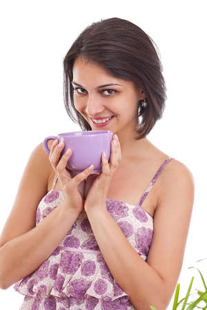 women holding cup: Portrait of young women holding cup Stock Photo