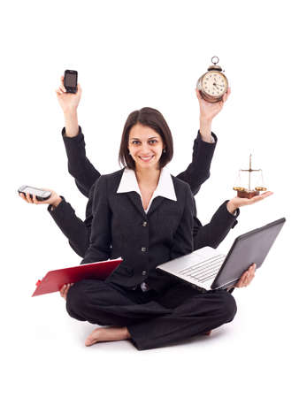 Beautiful business woman looking confident with six arms  Stock Photo