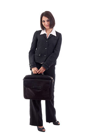 Business woman with laptop bag isolated on white background