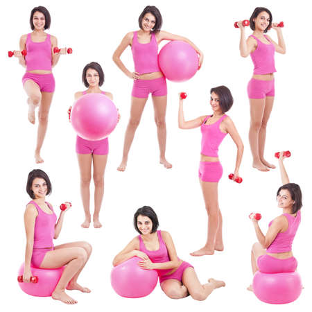 Young woman with fit ball ,collage  photo