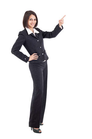 Businesswoman pointing something, isolated on white background  photo