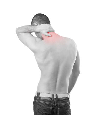 Young attractive man having pain in his neck Stock Photo - 13683410