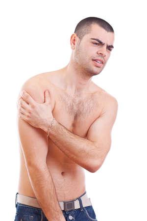 epaule douleur: Jeune homme avec la douleur dans son bras. Isolé Banque d'images