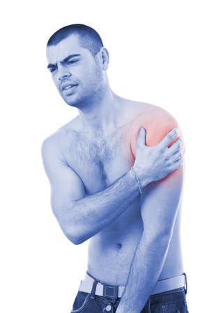 gesundheitsmanagement: Junger Mann mit Schmerzen im Arm, blau mit roter Foto als Symbol f�r die H�rtung Lizenzfreie Bilder