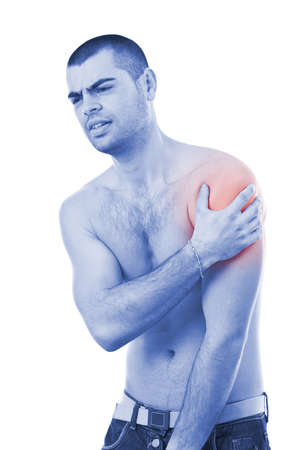 Pain Management: Young man with pain in her arm, blue photo with red as a symbol for the hardening  Stock Photo