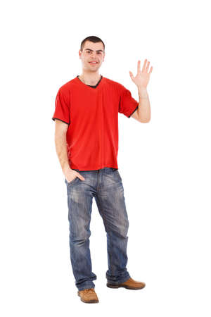 Young man greeting and saying Hi, isolated on white.  photo