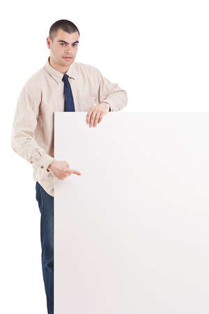 Man with banner. Isolated over white background. Stock Photo - 13683379