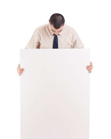 Man holding banner. Isolated over white background. Stock Photo - 13683310