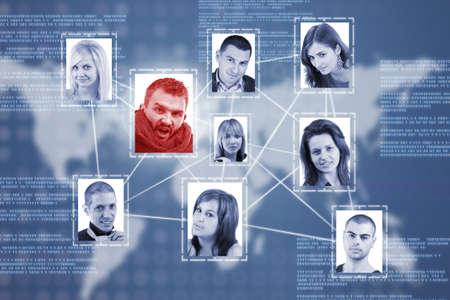 Social network concept with people photos in digital futuristic blue background Stock Photo - 13683580