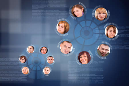 social network friends circle in digital futuristic background photo