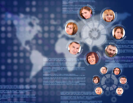 social network friends circle in digital futuristic world mapbackground photo