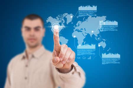 navigating: Businessman navigating interface in future